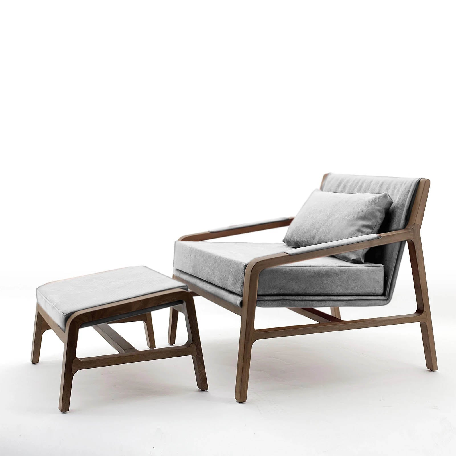 Nordic  solid wood lounge chair and ottoman   Nordic-001-Grey(ROSE Berger)