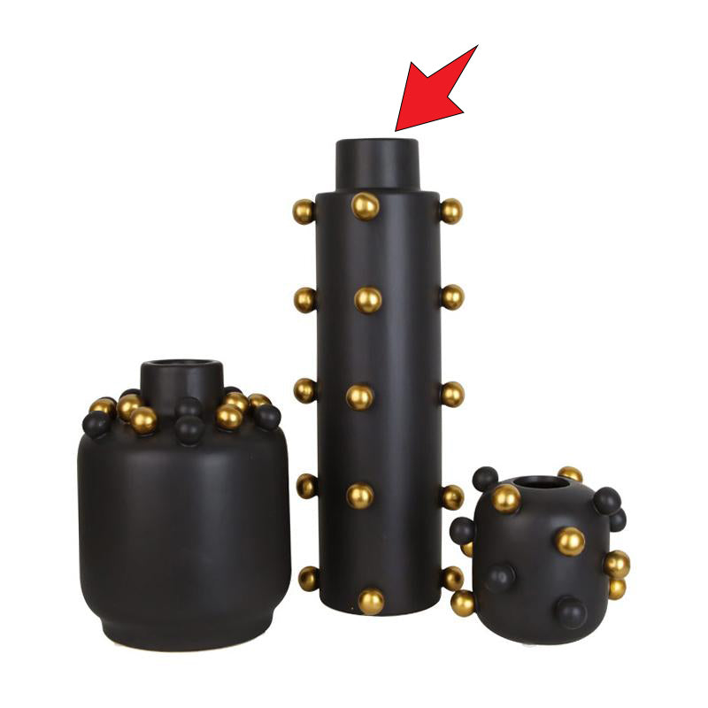 Pre-Order 40 Black + little golden balls vase A FA-D1910A -  اطلب مسبقا 40 مزهرية سوداء + كرات ذهبية صغيرة - Shop Online Furniture and Home Decor Store in Dubai, UAE at ebarza
