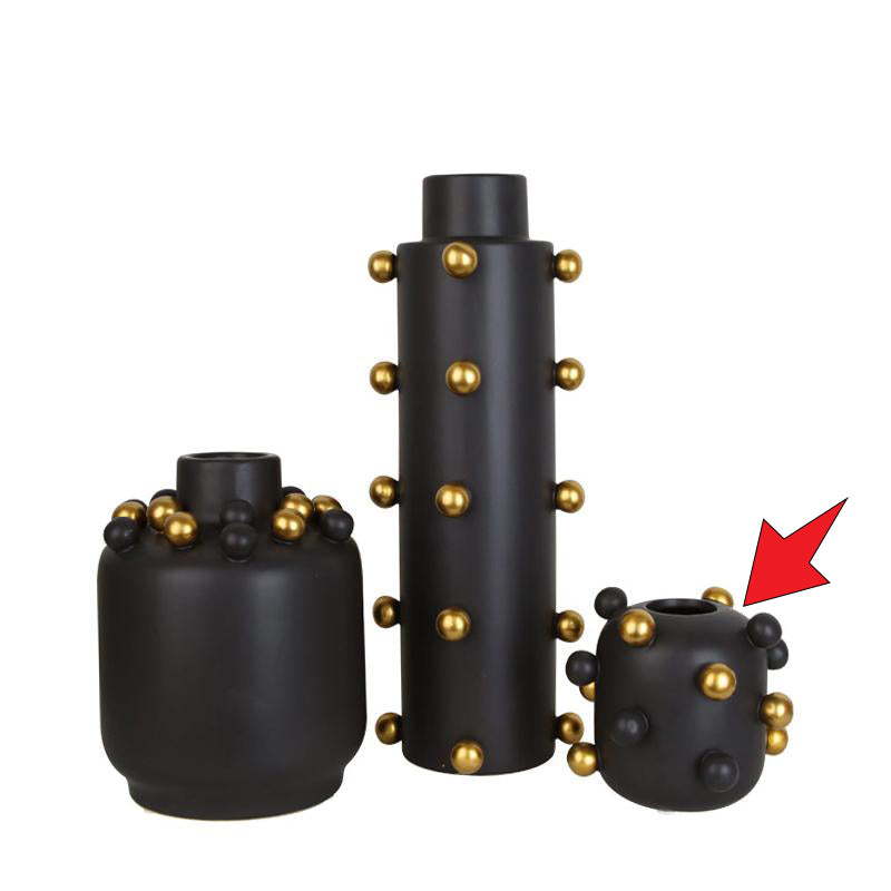 Pre-Order 40 Black + little golden balls vase C FA-D1910C -  اطلب مسبقا 40 مزهرية سوداء + كرات ذهبية صغيرة - Shop Online Furniture and Home Decor Store in Dubai, UAE at ebarza