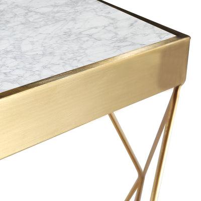 Natural Marble & Stainless Steel Table 50cm BP8811-G-S - ebarza