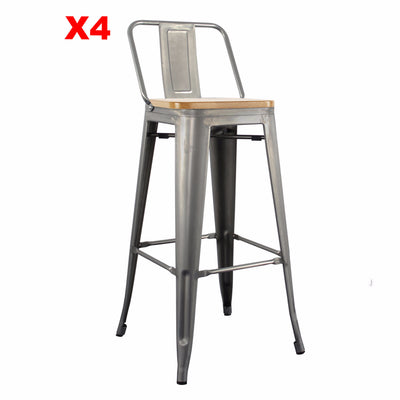 Set of 4 Bar Stool TXB0010- T630LB-SetX - ebarza