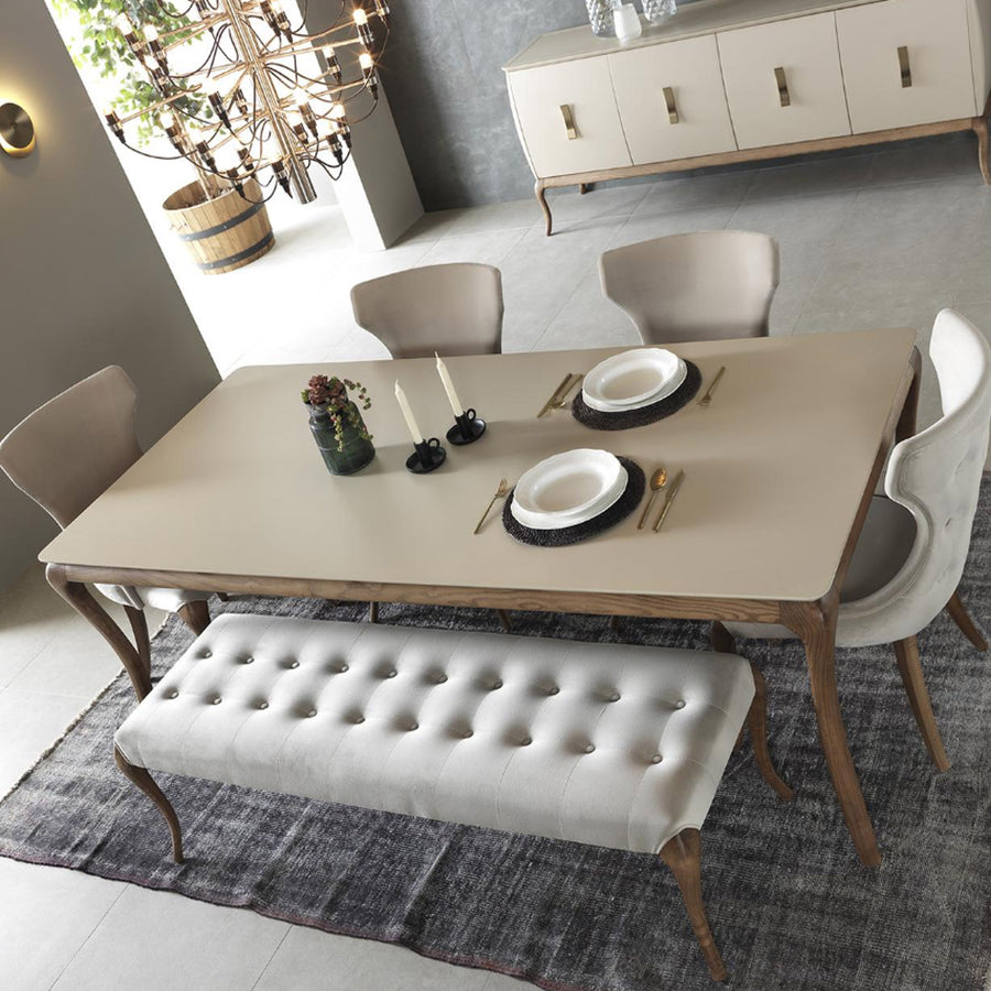 HERMES  dining table + 4 chairs+ Bench    HER001