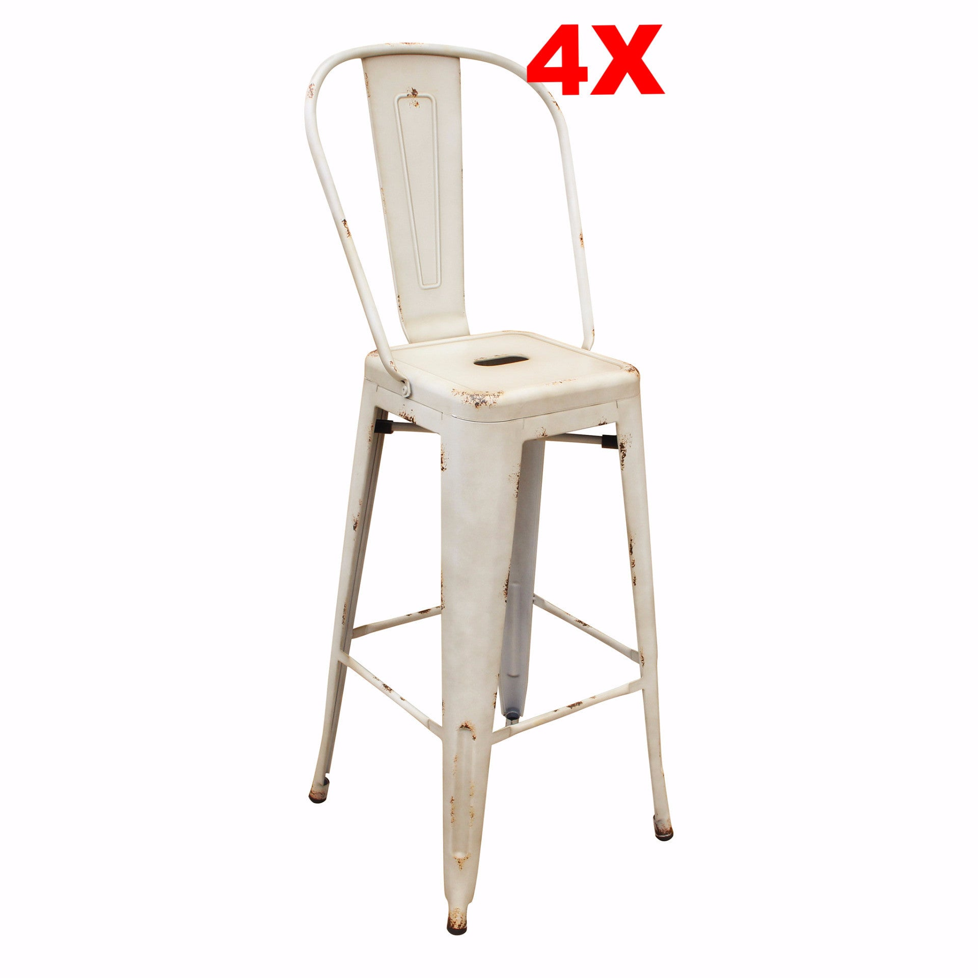 Bar Stool - Set Of 4 Distressed Antique Vintage Bar Stool TXD0095BPr