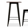 Industrial bar table with solid wood top 60 cm BPTT03B+W GT-248U