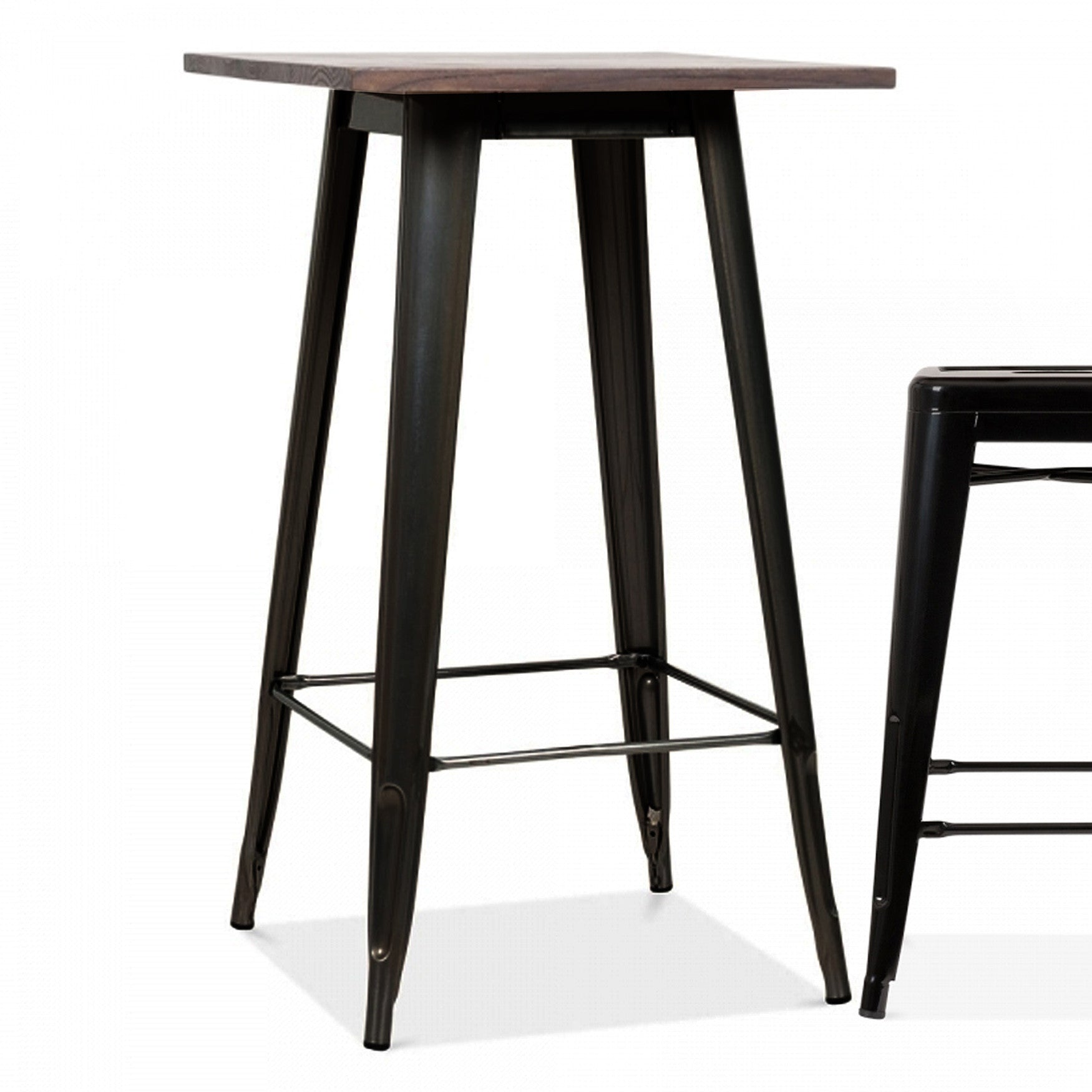 Industrial bar table with solid wood top 60 cm GT-248U-BW