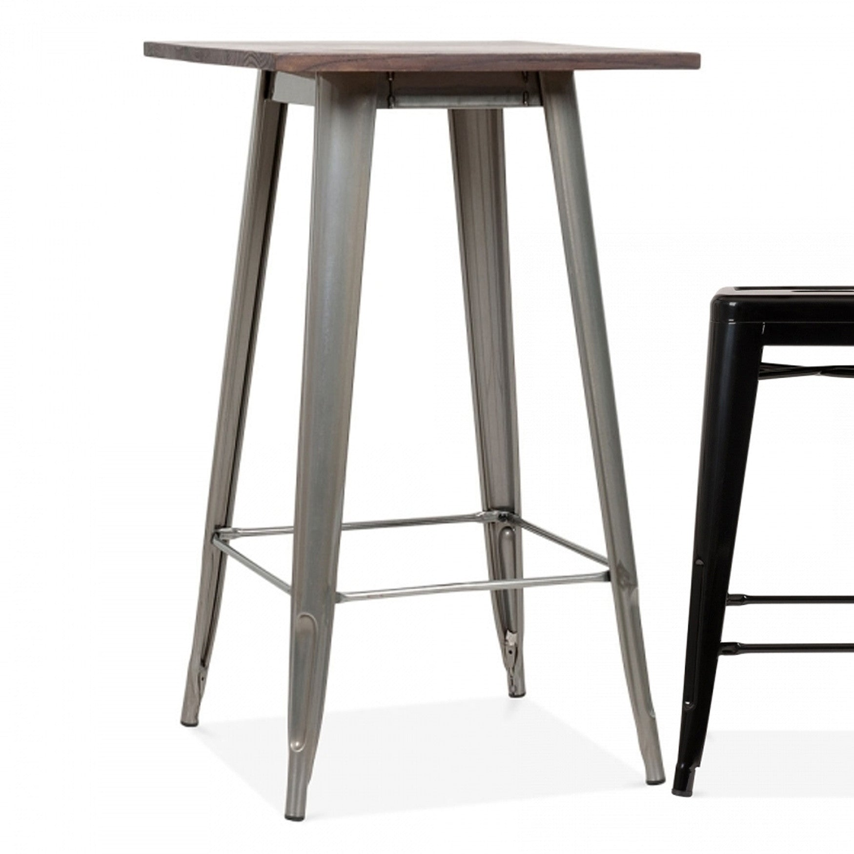 Industrial bar table with solid wood top 60 cm BPTT03S+W