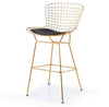 Wire Bar Stool & genuine leather cushion BP8601-G