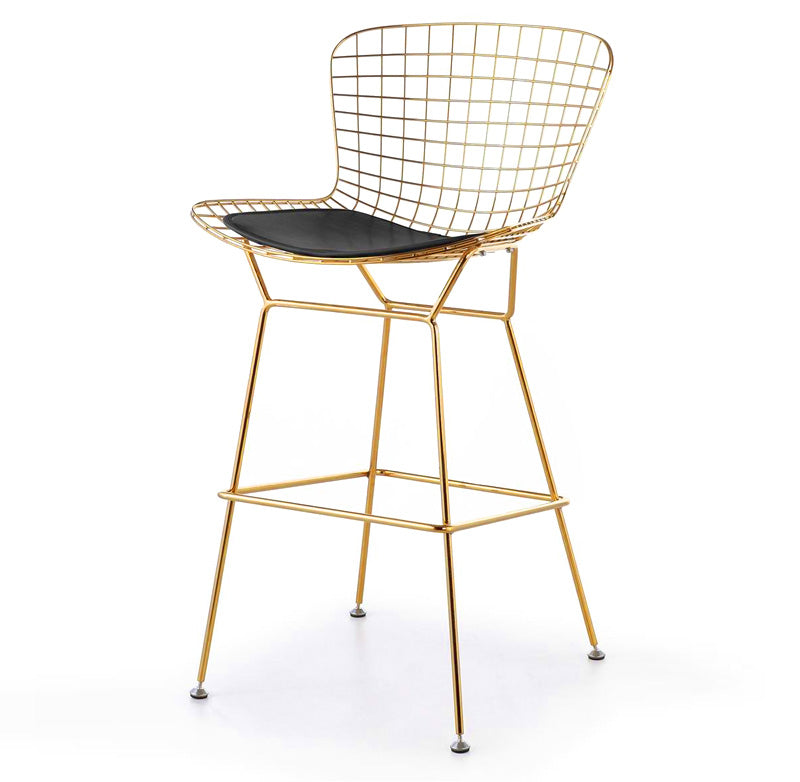 Wire Bar Stool & genuine leather cushion BP8601-G - ebarza