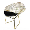 Golden Wire Chair& genuine leather cushion  BP8019GO - ebarza