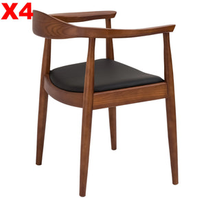 Set of 4 XDining Chair  Solid ash wood and Genuin leather HW 00322W-WS-037