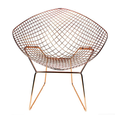 Rose Gold Wire Chair& genuine leather cushion  BP8019RG - ebarza