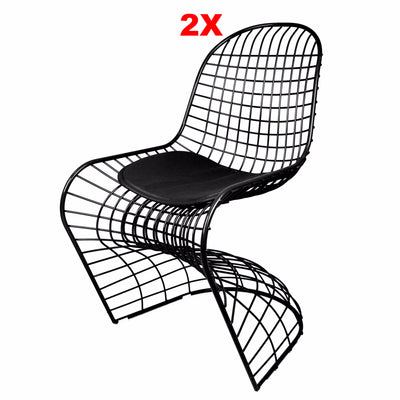 Chair - Set Of 2 Wire Chair & Leather Cushion 0BP8018-BSET