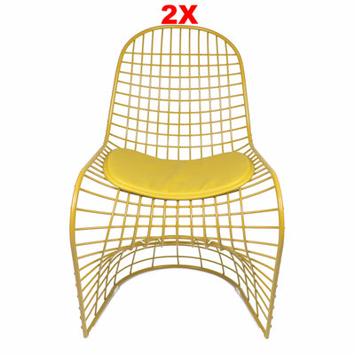 Chair - Set Of 2 Wire Chair & Leather Cushions  0BP8018-YSET