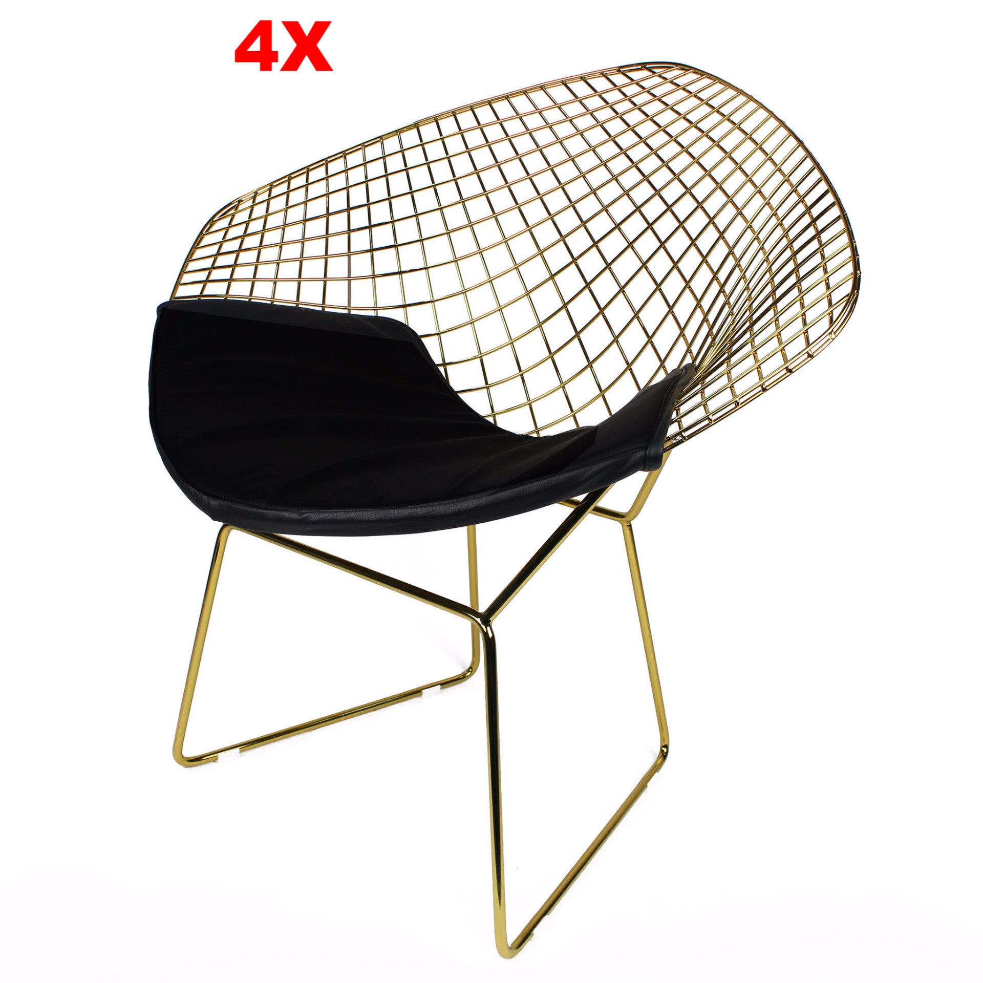 Chair - Set Of 4 Golden Wire Chair& Genuine Leather Cushion  BP8019-GOSET