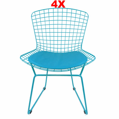 Chair - Set Of 4 Wire Chair&Genuin Leather Cushion BP8020-BLSET