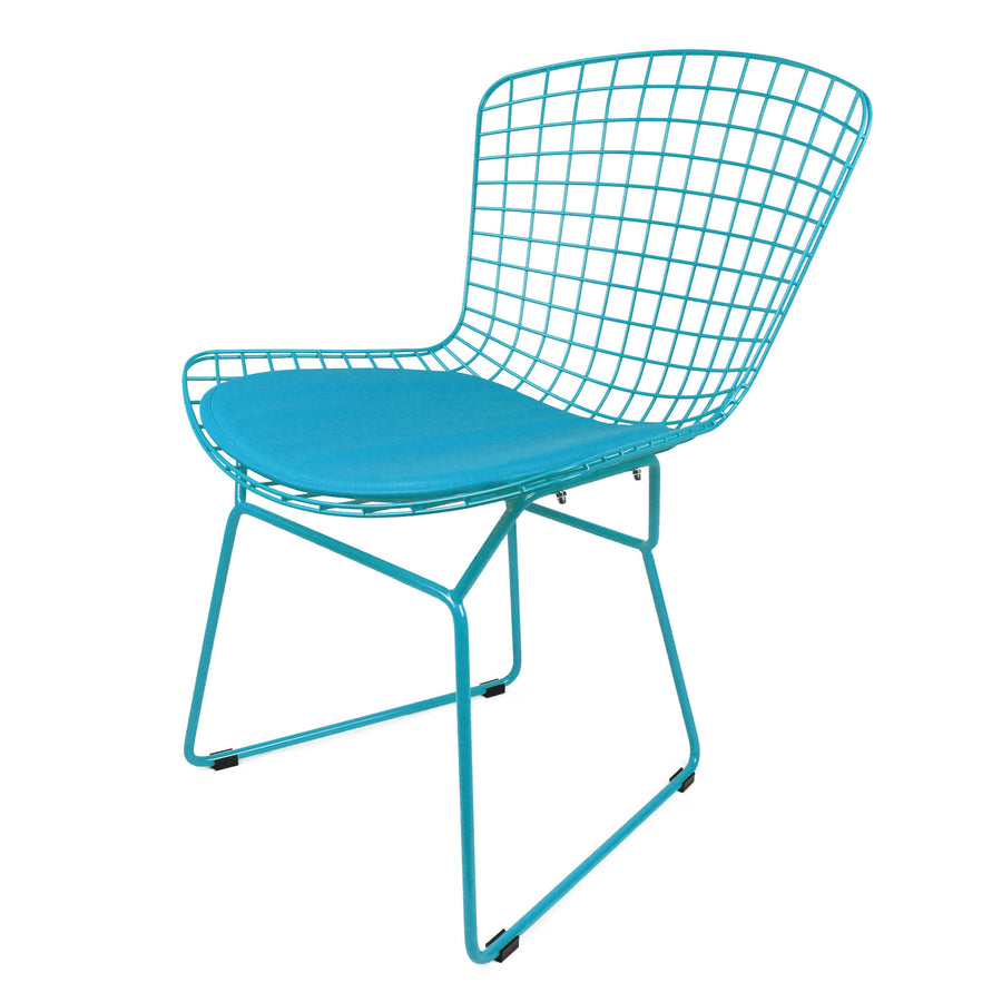 Chair - Wire Chair&Genuin Leather Cushion BP8020-BL