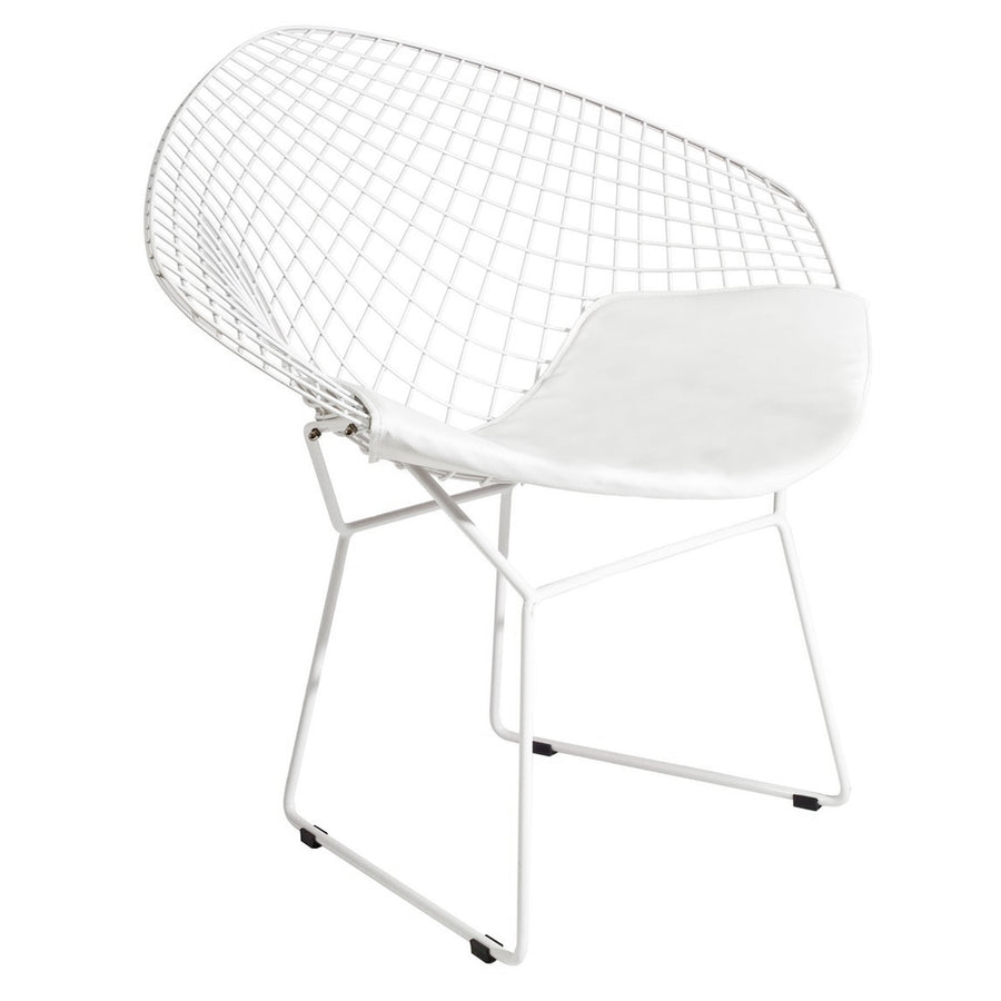 Wire Chair &Genuin leather Cushion BP8019-W - ebarza