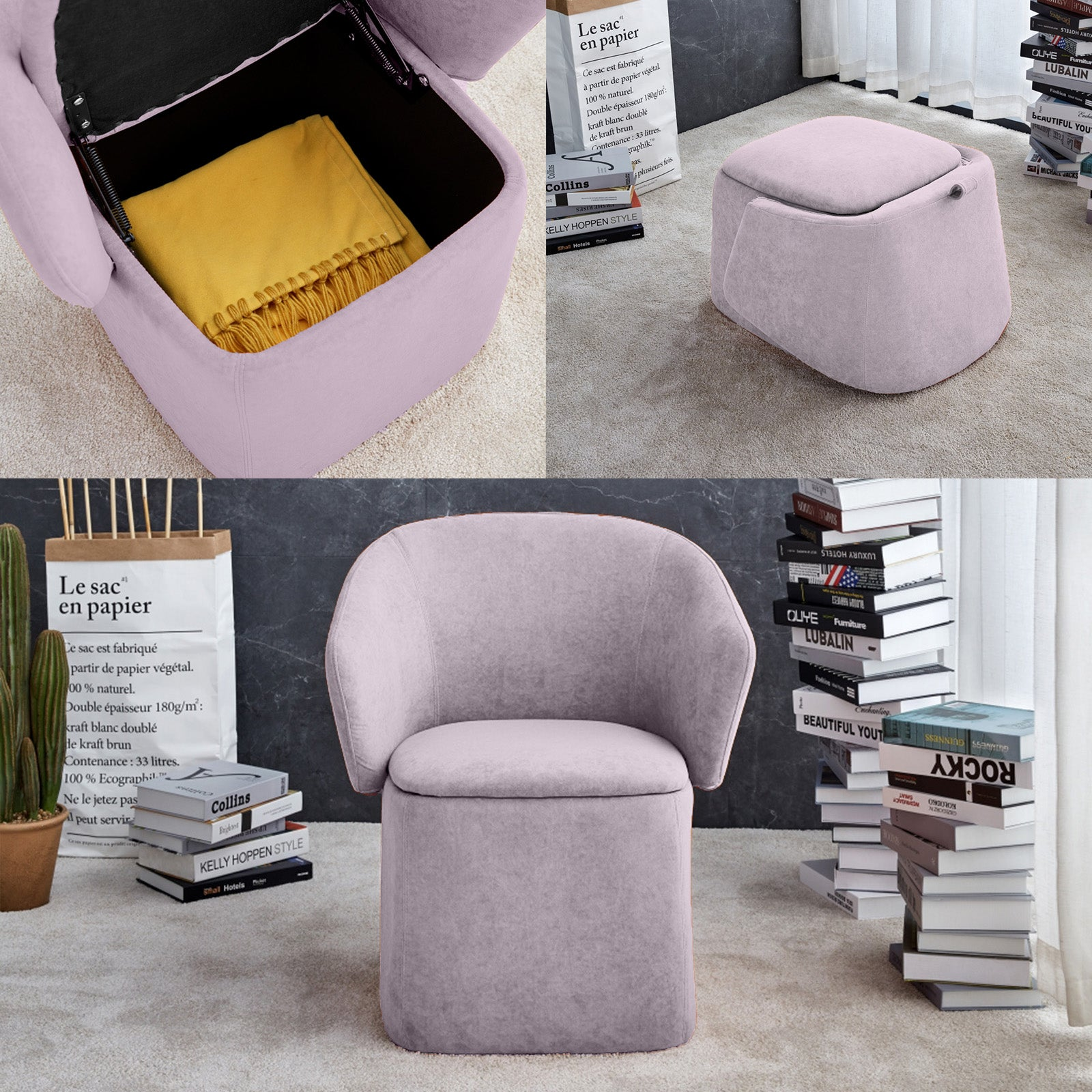 Flexa Chair/stool/storage  B2280-Pink