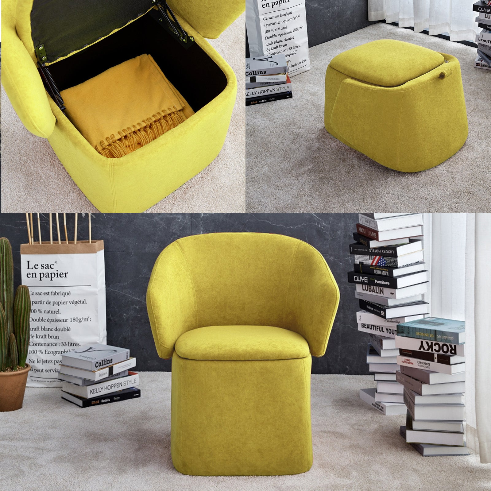 Flexa Chair/stool/storage  B2280-Yellow -  كرسي / مقعد / تخزين فليكسا - Shop Online Furniture and Home Decor Store in Dubai, UAE at ebarza