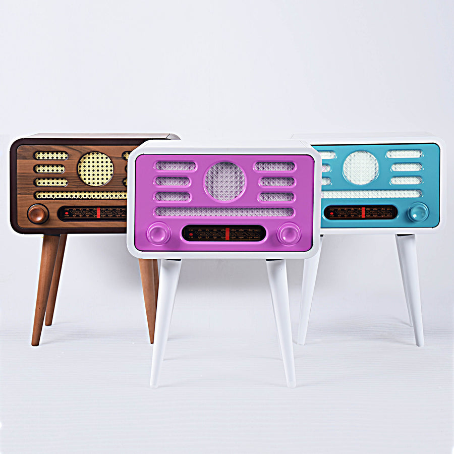 Coffee Table - Vintage Radio Style Side Table With Storage Pink/Purple TU0138