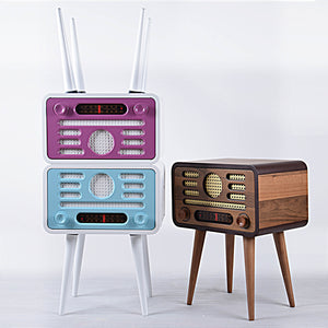 Vintage Radio Style Side Table with storage  NOSTALJİ001