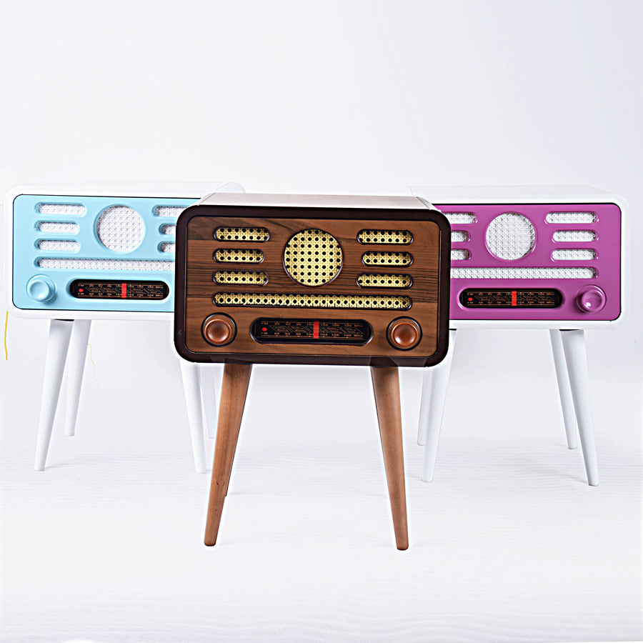 Coffee Table - Vintage Radio Style Side Table With Storage Walnut  TU0139
