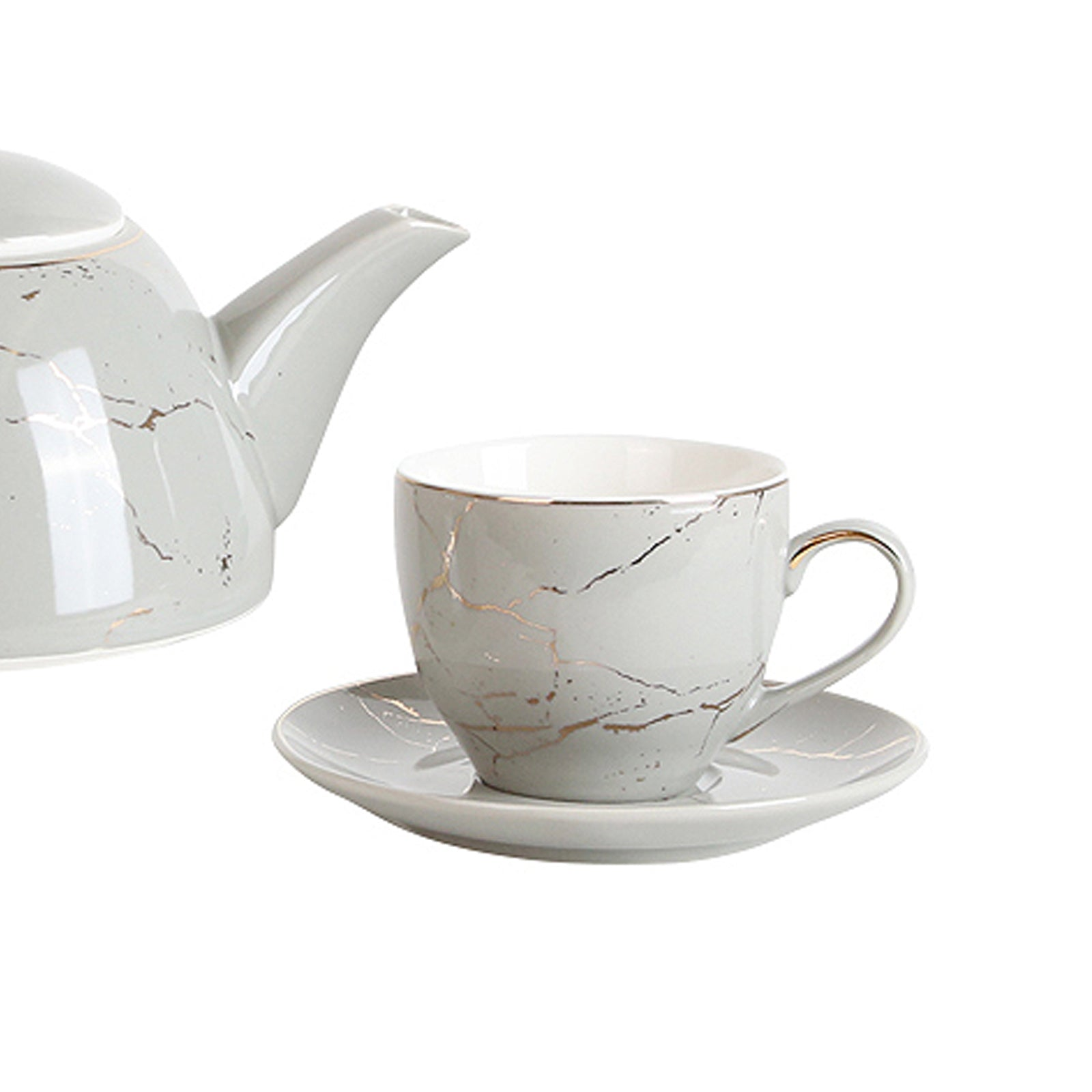 Grey &Golden coffee/tea  cup and plate FA-D2059A - ebarza