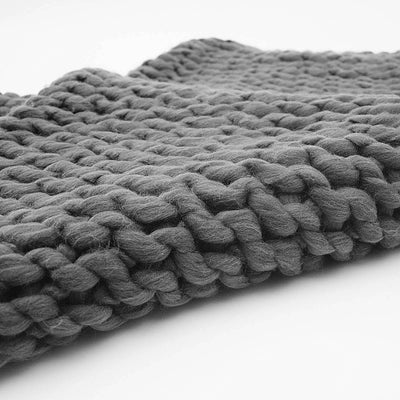 Handmade Chunky Throw Blanket  093A-004-Grey