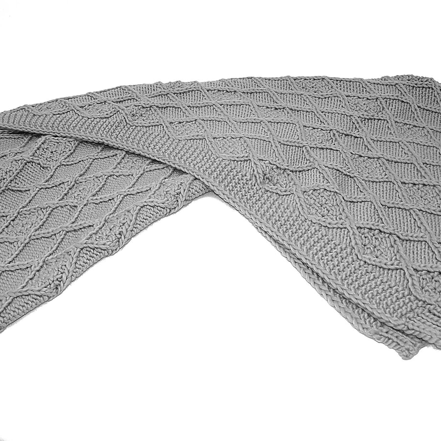 Handmade Chunky Throw Blanket  093A-001-Grey