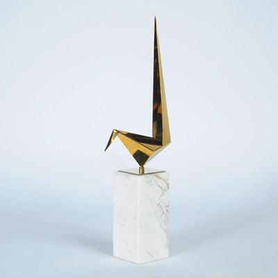 Set of 3 abstract birds sculpture with marble base 170305S+M+L