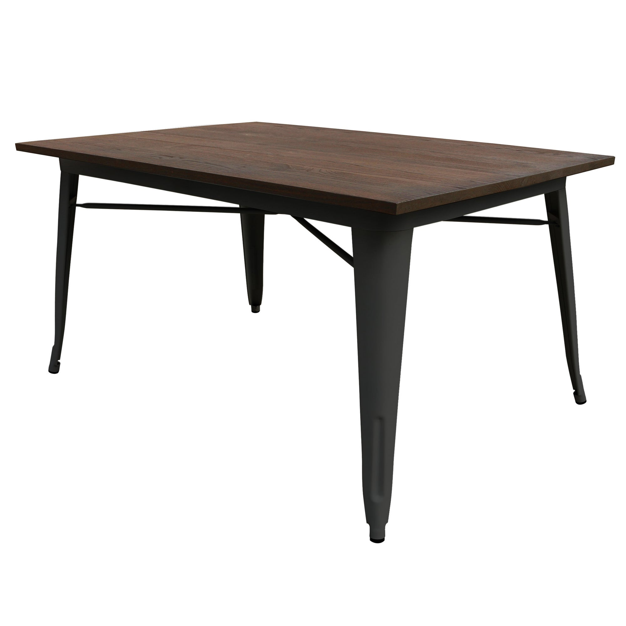 Dinning Table - Industrial  Table With Solid Wood Top 120 Cm BPTT02B+W