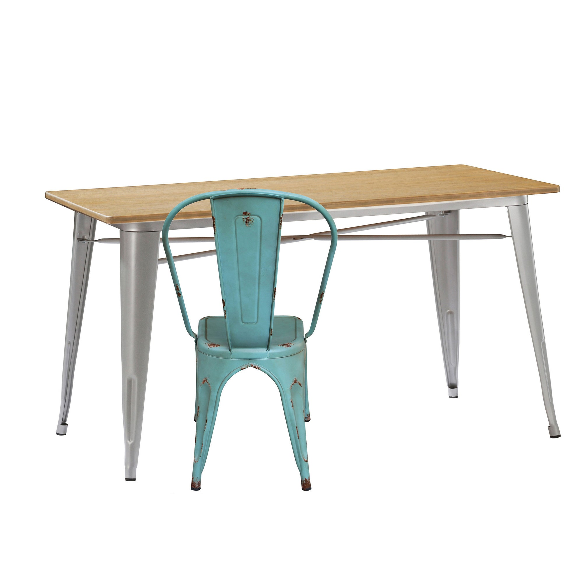 Dinning Table - Industrial Table With Solid Wood Top 120 Cm BPTT02S+N