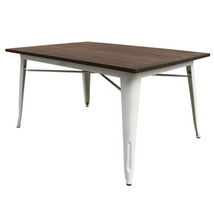 Industrial table with solid wood top 120 cm BPTT02W+W