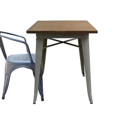 Dinning Table - Industrial Table With Solid Wood Top 60 Cm BPTT04S+W