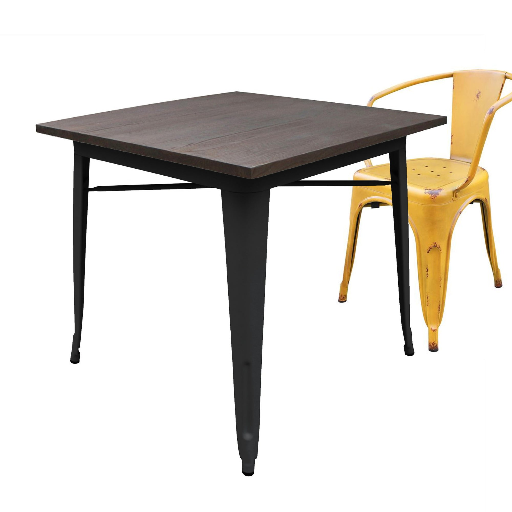 Dinning Table - Industrial Table With Solid Wood Top 80 Cm BPTT01B+W