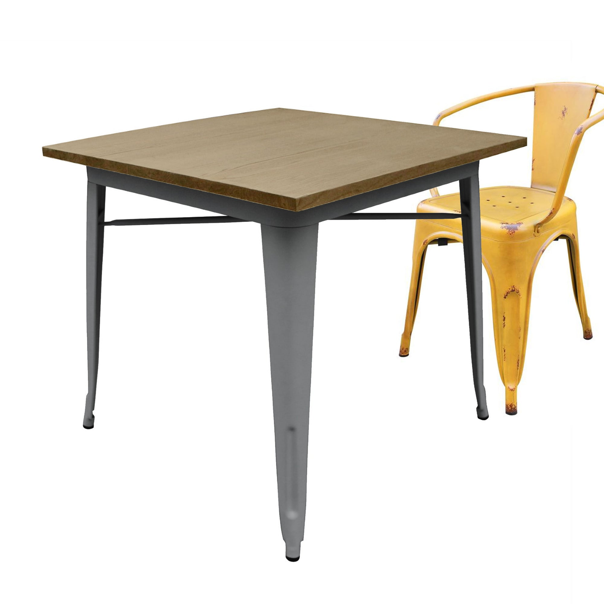 Dinning Table - Industrial Table With Solid Wood Top 80 Cm BPTT01S+N
