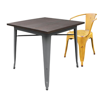 Dinning Table - Industrial Table With Solid Wood Top 80 Cm BPTT01S+W