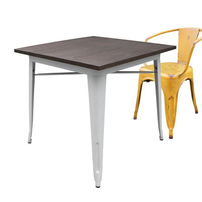 Dinning Table - Industrial Table With Solid Wood Top 80 Cm BPTT01W+W