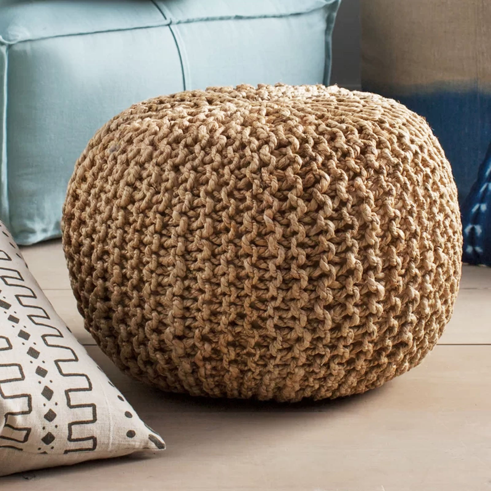 handmade jute pouf Pouf morocco Jute Dori -  وسادة الجوت اليدوية بوف المغرب - Shop Online Furniture and Home Decor Store in Dubai, UAE at ebarza