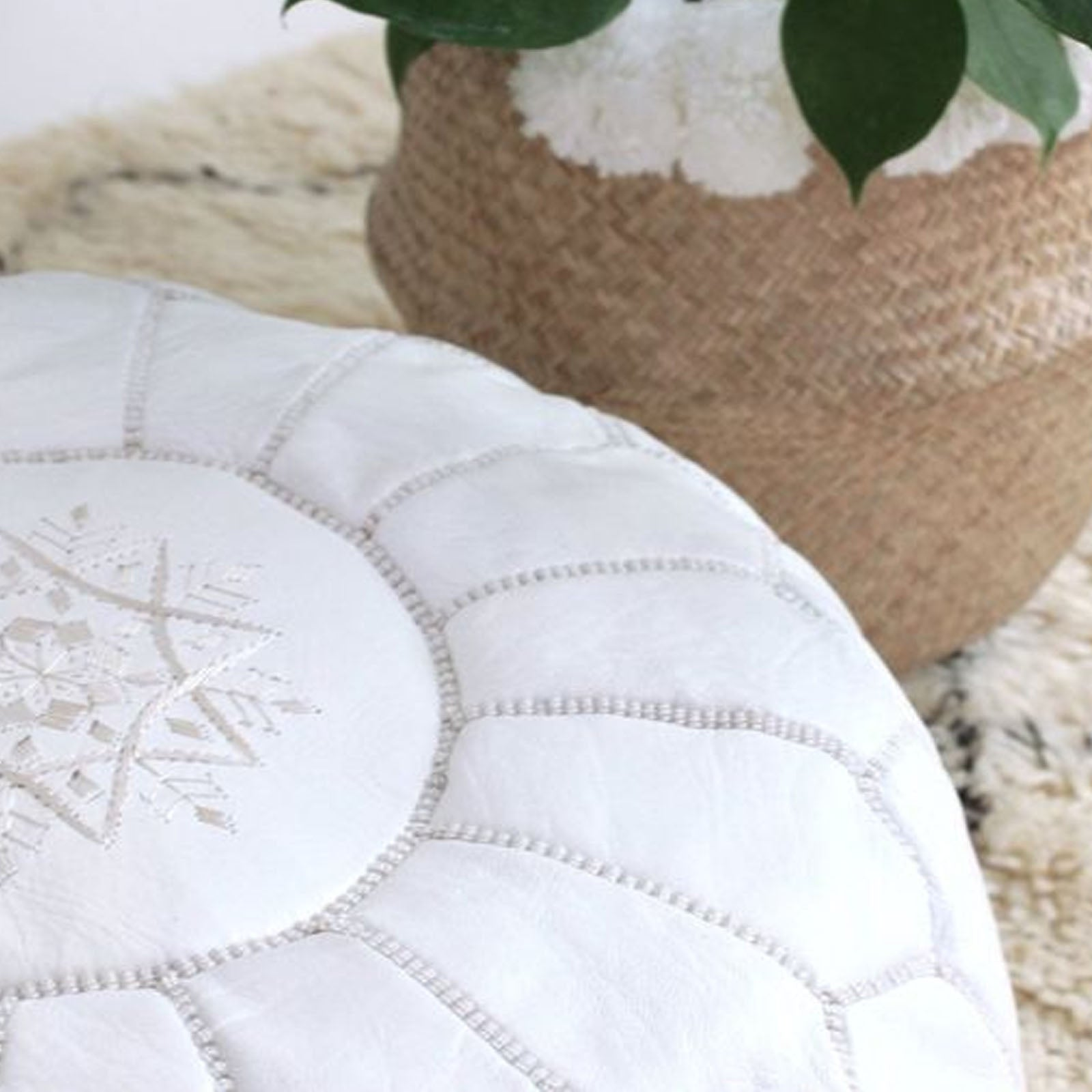 Handmade Genuine Leather Moroccan Style Pouf morocco-white -  بوف جلد طبيعي مصنوع يدويًا على الطراز المغربي - Shop Online Furniture and Home Decor Store in Dubai, UAE at ebarza