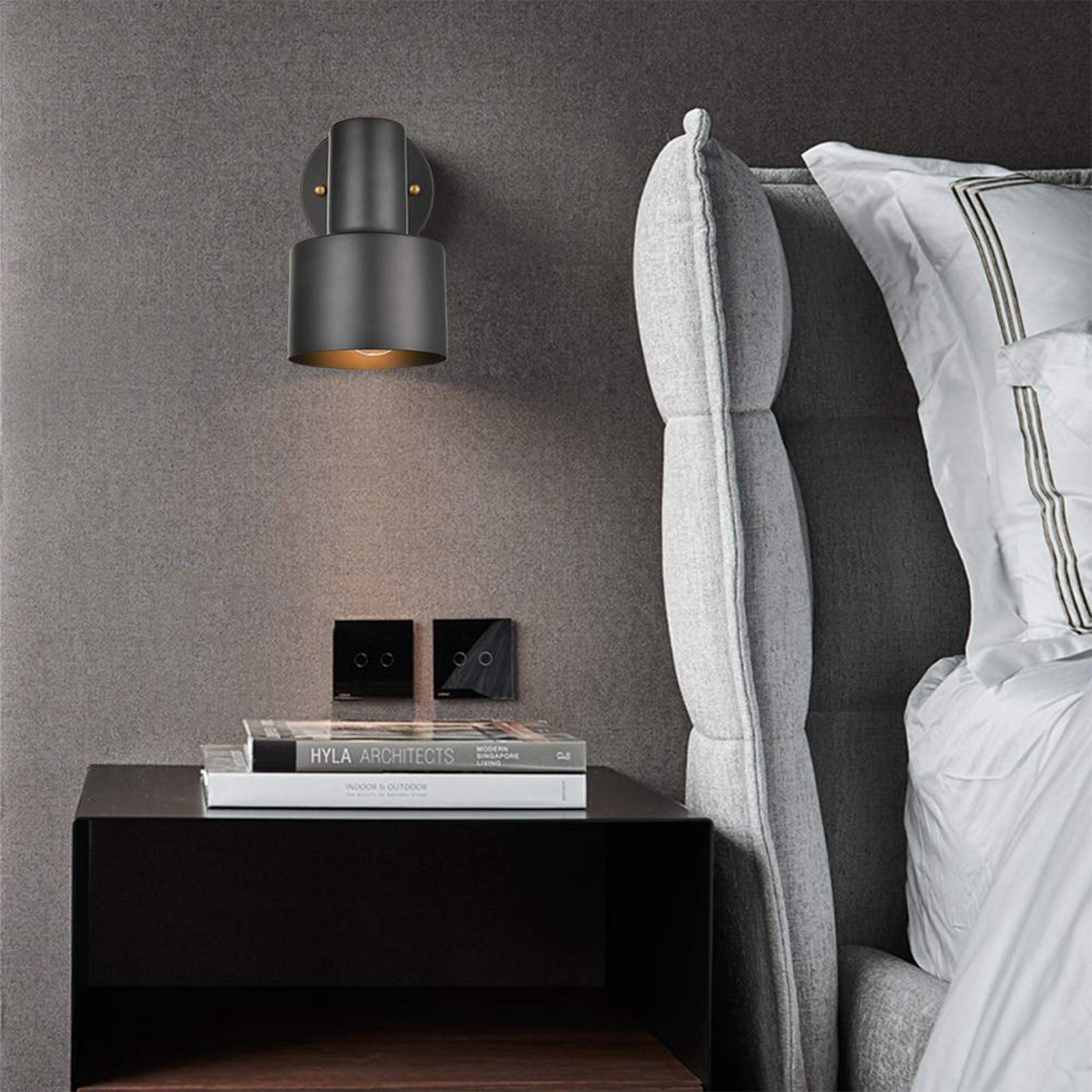 Hotel style headboard/wall reading lamp CY-BD-035-BK