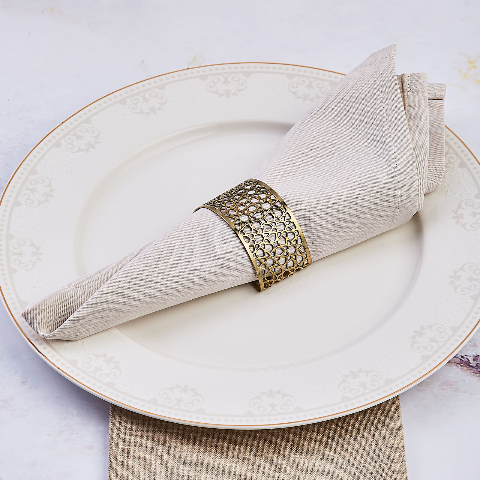 Karaca Seljuk Set of 6 Gold Small Napkin Rings 153.19.01.1488