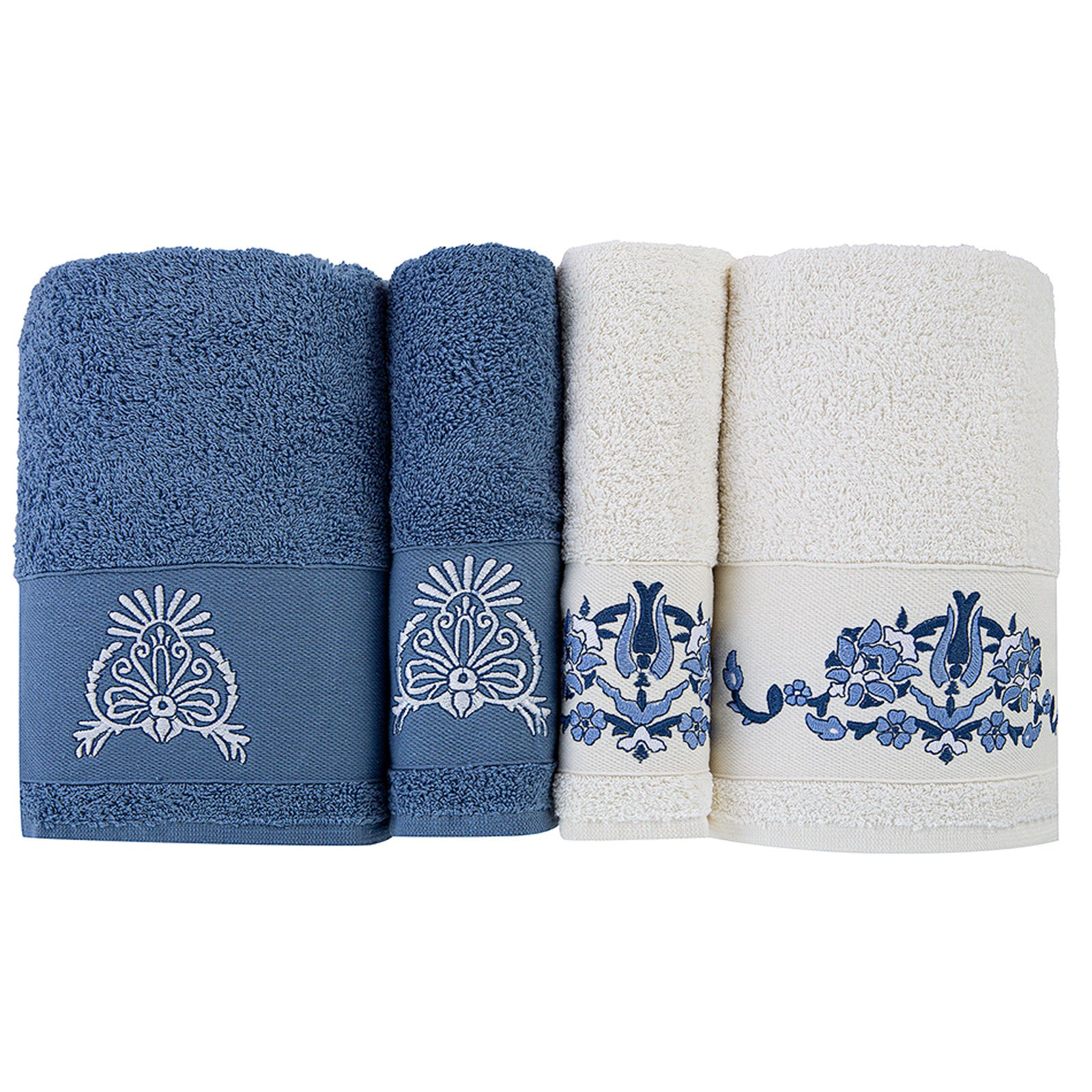 PRE-ORDER 30 DAYS DELIVERY Karaca Home Levni Blue White Family Turkish Bath Set 200.15.01.0114
