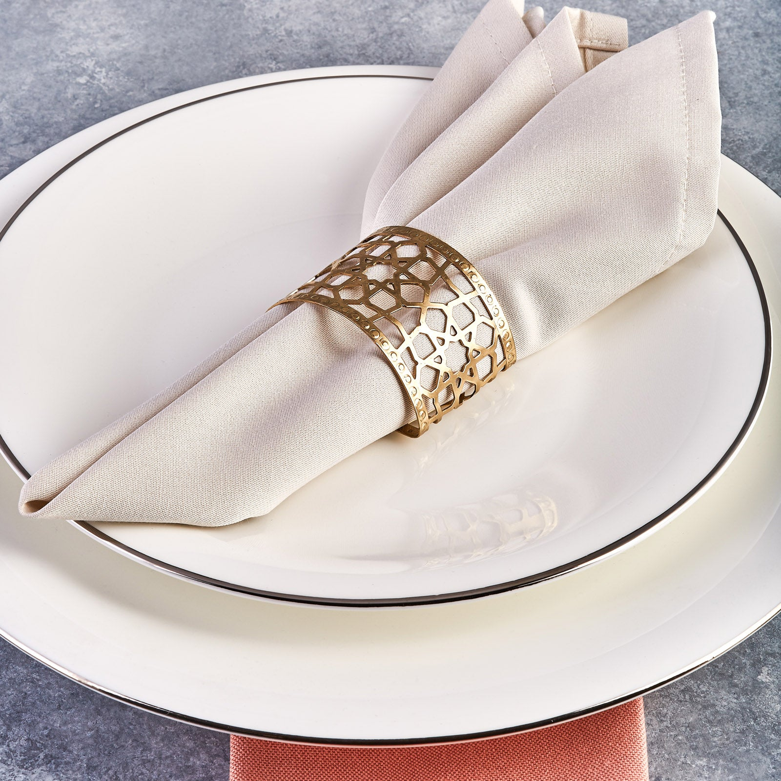 Karaca Seljuk Large 6-Piece Napkin Ring Set Gold 153.19.01.1486