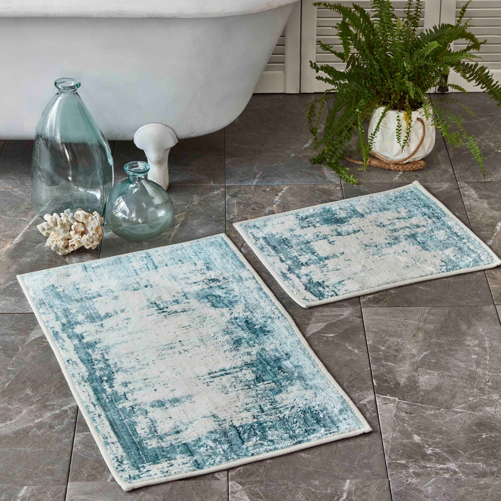 Sarah Anderson Lery blue 2-Piece Bath Mat 160.02.01.0363 -  سجادة حمام قطعتين زرقاء ليري من سارة أندرسون - Shop Online Furniture and Home Decor Store in Dubai, UAE at ebarza