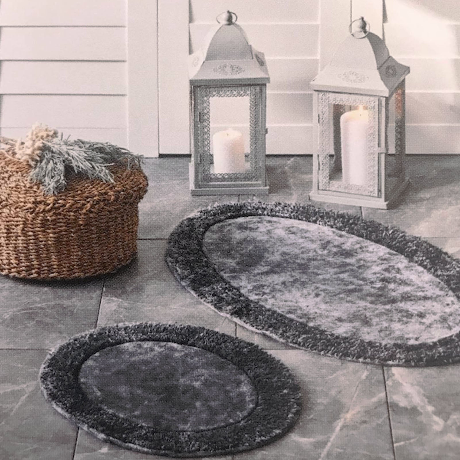 Karaca Home Barny Anthracite 2-Piece Bath Mat 200.17.01.0134 -  سجادة حمام كاراجا هوم بارني أنتراسيت قطعتان - Shop Online Furniture and Home Decor Store in Dubai, UAE at ebarza