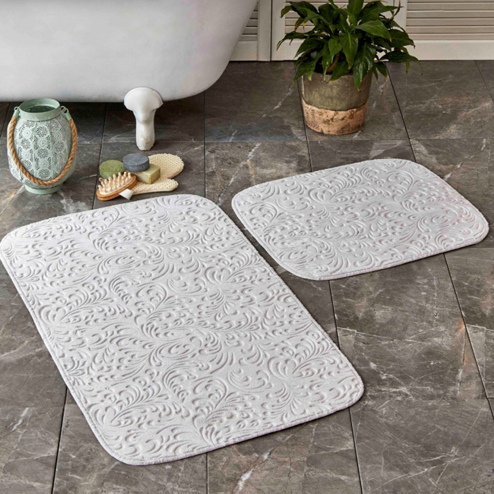 Karaca Home Delora Gray 2 Pieces Bath Mat  200.17.01.0209 -  سجادة حمام من كاراجا هوم ديلورا رمادي ، قطعتان - Shop Online Furniture and Home Decor Store in Dubai, UAE at ebarza