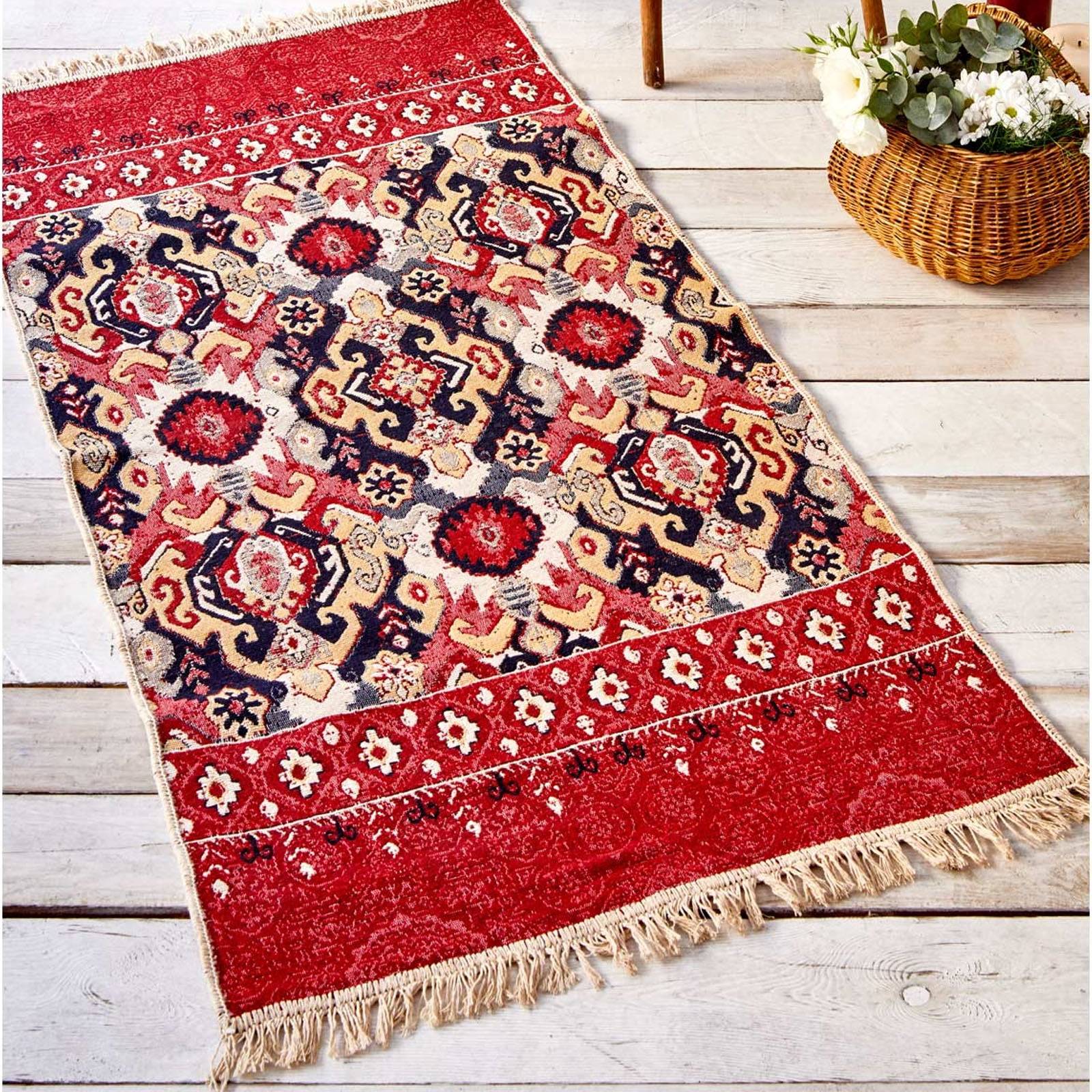 Karaca Home Anatolian Terken Double Face 85x150 cm Kilim 201.17.01.0121 -  كاراجا هوم سجادة أناتوليان تيركين مزدوجة الوجه 85*150 سم - Shop Online Furniture and Home Decor Store in Dubai, UAE at ebarza