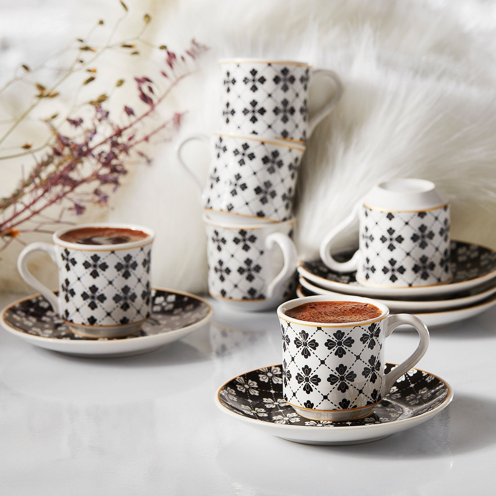 Apricot Eylem Set of 6 Coffee Cups 153.03.06.1876 -  طقم فناجين قهوة 6 فناجين مشمش - Shop Online Furniture and Home Decor Store in Dubai, UAE at ebarza