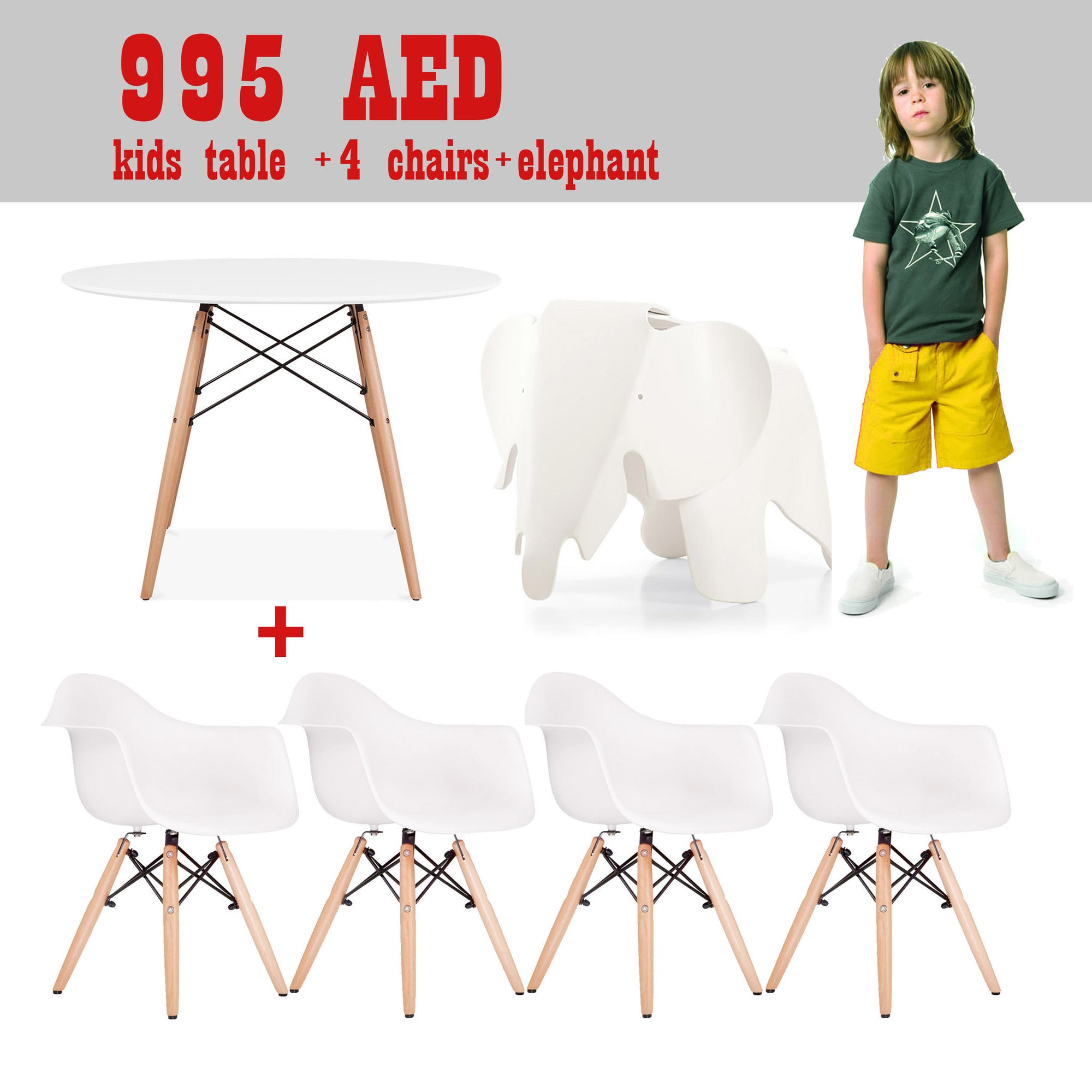 Kids - Promo Set Of Table, 4 Chairs And Elephant Stool   SET4A1T1EPR